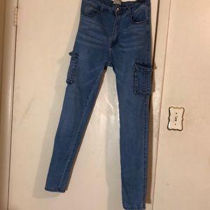 cargo blue jean pants